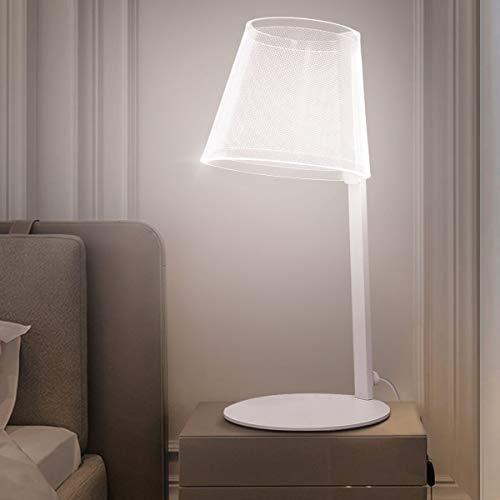 LED Tischlampe Dimmbar, Modern Weiss Schreibtischlampe Innen mit USB Anschluss, 10w Nachttischlampe, Metall Tischlampensockel, für Schlafzimmer Büro