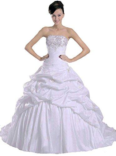 Vantexi Damen Trägerlosen TAFT Brautkleid Hochzeitskleider Elfenbein Größe 48