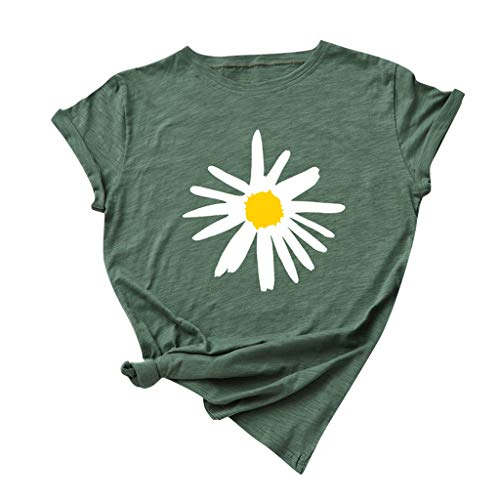 Xniral T-Shirt Damen Sommer Regular Fit Kurzarm Rundhalsausdruck Gedruckt Tunika Tops Bluse Sports Große Größe Baumwolle Shirt(g-Grün,XL)