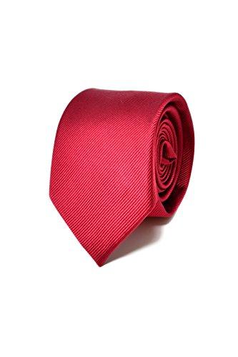 Oxford Collection Cravate Homme Rouge Bordeaux - 100% en Soie - Classique, Elégante et Moderne - (Idéale pour un cadeau, un mariage, avec un costume,