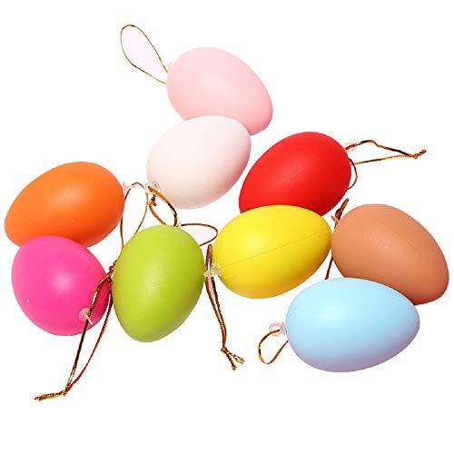 uova di pasqua x bambini N\C Uova di Pasqua in plastica 6 cm Uova Colorate 24pezzi Uova finte con cordini per Bambini Artigianato di Pittura Fai-da-Te