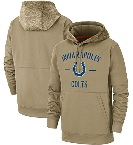 XYEQX Herren Hoodies Colts Pullover Fan Jumper, American Football Team Uniform Pullover Hoodies Langarm Colts Logo Digitaldruck Sweatshirt-Lightkhaki-XL(185-190)