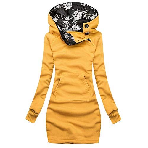 Yowablo Damen Hoodie Kapuzenpullover Sweatshirt Frauen Mode Plaid Print Jacke Reißverschluss Langarm Mantel mit Tasche (M,2Gelb)