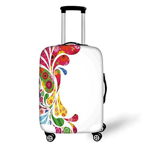 LAVOVO Vintage Colorful Rustic Wooden Luggage Cover Suitcase Protector Carry On Covers