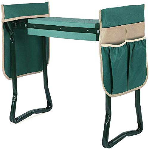 Garden Kneeler Seat with Upgraded Thicken Kneeling Pad and 2 Large Tool Pouch Foldable Stool 330lb Capacity