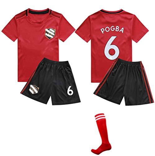 CHSC # 6 Pogba Fußball Trikot Fußballuniform,Outfit Kinder Kind Kurzarm Shorts Socken Trainingsbekleidung Wettbewerb Anzug Tanktops Fan Edition 16-28 1 Set Kleidung red-28