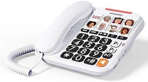swissvoice Xtra 3155 Seniorentelefon - Kombi‐Set aus schnurgebundenen Telefon mit integriertem Anrufbeantworter Plus Schnurlostelefon, hörgerätekompatibel, weiß, ATL1418354