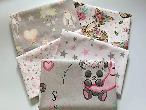Tela de algodón con corazones de Austria Elisa: juego de 5 piezas de 50 cm x 160 cm 100% algodón – 130 g/m2 – tejido ecológico – tejido infantil