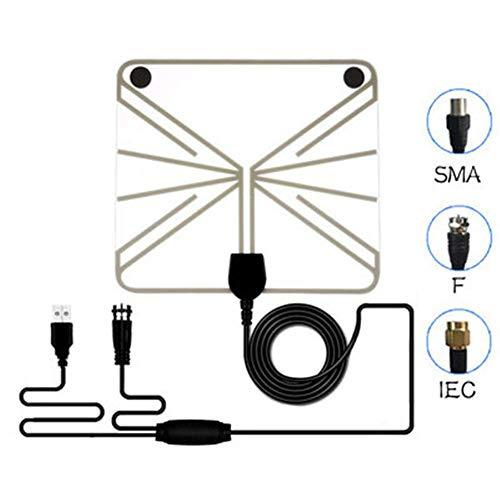 SuRose TV Antenne HD, Ultradünne HD 1080P-Digitalantenne für den Innenbereich Die Gesamtlänge des Kabels beträgt 4 Meter. Unterstützt ATSC DVT DTMB Free TV, Weiß
