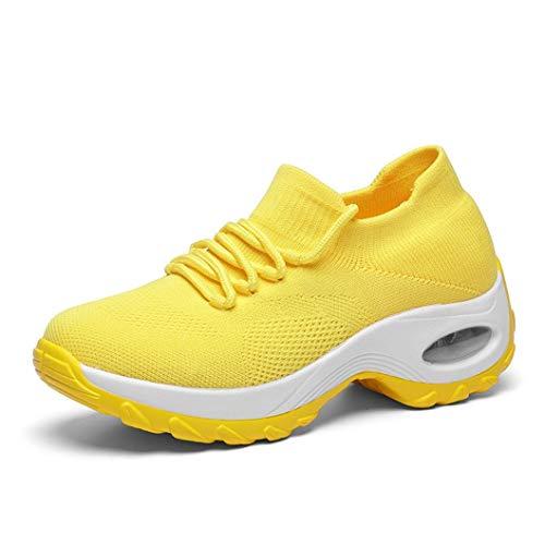 Damessneakers Met Mesh Voor Sleehakken Ademende Instapschoenen Sokschoenen Sportschoenen Voor Dames Lichtgewicht Hardloopschoenen Met Luchtkussen