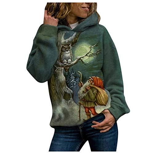 Yowablo Damen Kapuzenpullover Langarm Pullover Herbst Winter Casual Hoodie Sweatshirt Tasche Pullover Tops Sweatshirt Mode Frauen Cat Print Kapuze Langarm Langarm Freizeit Pullover Top (3XL,Grün)
