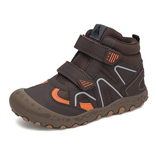 Mishansha Unisex Children Hiking Boots for Boys Hiking Sneakers for Girls Outdoor Anti-Slip Water Resistant Ankle Booties Brown and Orange 4 Big_Kid