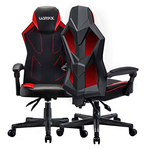 UOMAX Gaming Stuhl mit LED-Leuchten, Breitem Flachem Kissen Gamer...