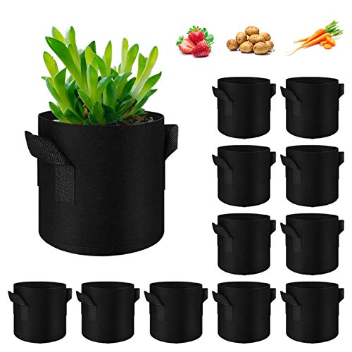 Vegetable Grow Bags, 12 Pack Gardening Plant Growing Bags Breathable Felt...