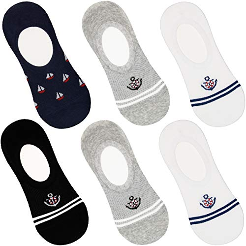 DOUBLE M, 6 Pares de Calcetines Tobillero Pinkis para Hombre Mujer, Calcetines de Vestir, de Algodón, Calcetines Suaves, Talla única 37 a 44