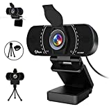 1080P Webcam with Microphone and Privacy Cover, Akyta USB Web Computer Camera, 110 Degree Wide Angle, Desktop PC Laptop HD Webcam for Video Conferencing/Calling/Game Streaming,Skype/YouTube/Zoom/Teams