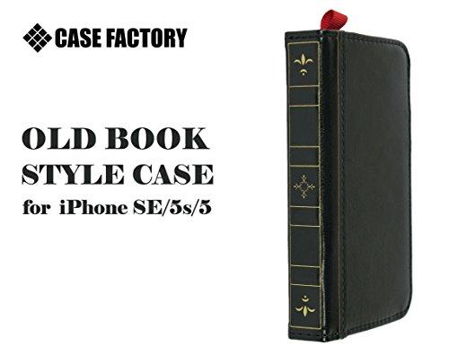 CASE FACTORY iPhone SE / 5s / 5 専用PUレザーケース Old Book Style case for iPhone SE / 5s / 5 ブラック 気泡が消える日本製最上級フィルム使用 エアレスマット防指紋スクリーンプロテクター付き OB-BL