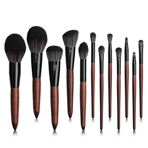 HUADA Pinceaux de maquillage 12 Pièces professionnel pinceau de maquillage Set synthétique Fondation Blending Correcteur yeux visage liquide crème en poudre cosmétiques Pinceaux (bois couleur)