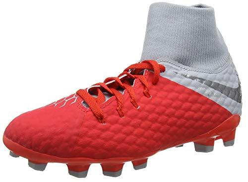 Nike Jr Hypervenom 3 Academy DF Fg, Scarpe da Fitness Unisex-Bambini, Multicolore (Lt Crimson/Mtlc Dark Grey/Wolf Grey 600), 36 EU