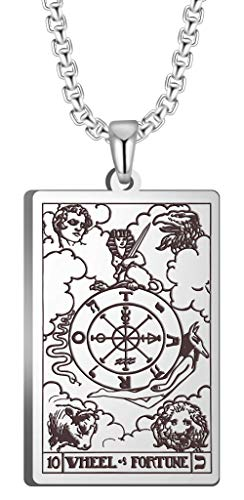 VASSAGO Tarot Stainless Steel X Wheel of Fortune Tarot Card Pendant Laser Engraved Celtic Astrology Divination Magic Amulet Necklace (Silver)