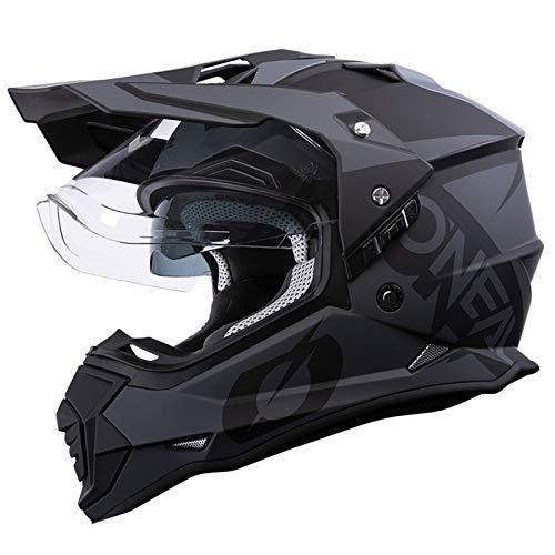 O'Nealオニール バイク ヘルメット オフロード ヘルメット モトクロス ダブルシールド 人気 helmet 軽量 モデル デュアルスポーツ対応 (マットブラック/グレー, XL)