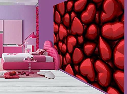 Zjfong Fotomural Dormitorio Niña Corazones Rojos Metálicos Hermosos-200X140Cm