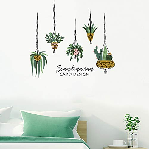 Dosminer Vibrant Potted Plants Wall Decals, Green Leaves Cactus Wall Posters Hanging Bonsai Wall Stickers, Vinyl Watercolor Wallpaper for Bedroom Nursery Office