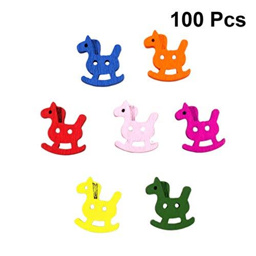 Artibetter 100 Stück Cartoon-Holzknöpfe mit 2 Löchern, Pony-Verschlüsse für Kleidung, Basteln, Scrapbooking, Hüte, Basteln, Kinder (gemischte Farben, 18 x 21 mm)