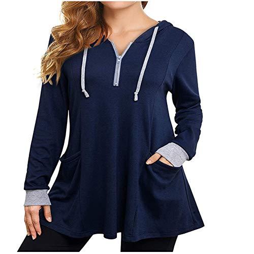 Herbstliches Temperament Kapuze Loose-Fit Damen Langarm T-Shirt