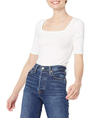 Amazon Essentials Camiseta de Cuello Cuadrado de Media Manga Slim fit, Blanco Brillante, L