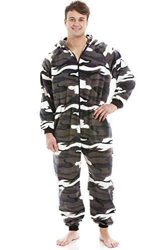 Pijama Pieza Hombre - Forro Polar Suave - Capucha