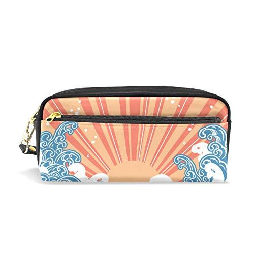 Étui à stylo Stationnaire Coucher de soleil Sea Wave Crayon Sacs Pochette Portable pour Enfants Scolaires Sac Cosmétique Maquillage Beauté