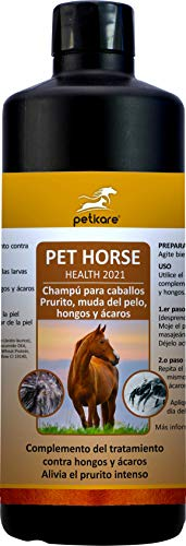 Peticare Caballo Bio Champu contra Picor, Anti-Pulgas y Anti-Acaros - Tratamiento para Anti-Parasitos y Repelente, Detiene Picores Fuerte, Shampoo 100% Organico - petHorse Health 2021 (500 ml)