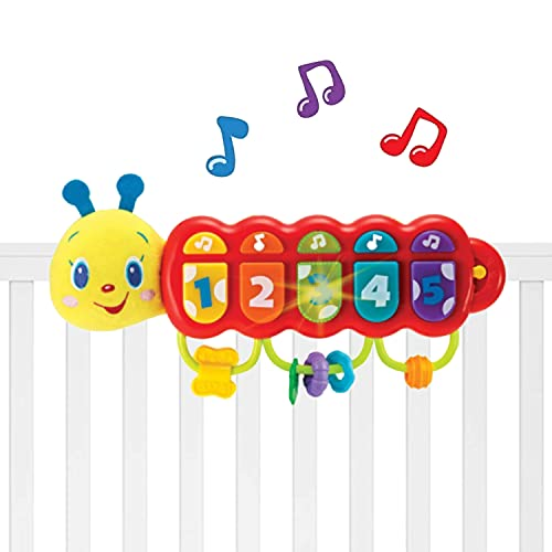 KiddoLab Lira The Caterpillar Toy. Baby Activity Stroller, Crib Toy and Carseat Toys for Infants Learning. Baby Musical Light Up Toy Piano Stroller Toys, 3 Months Old Toys for Babies