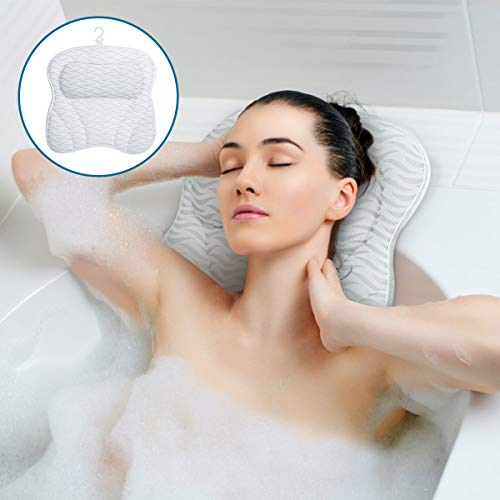 SAWAKE Bath Pillow With 7 Non-Slip Suction Cups, Ergonomic Bath Cushion Supports Neck Back, Shoulders And Head,Quick Drying with 3D Air Mesh Bath Pillow Machine Washable for Home Spa