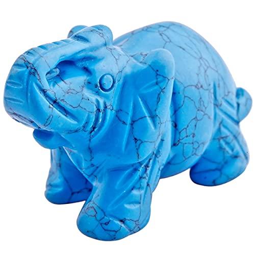 mookaitedecor Blue Howlite Turquoise Crystal Elephant Sculpture Statue Crafts Healing Reiki Pocket Gemstone Figurines 1.5 Inch