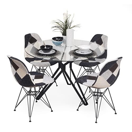 Conjunto de Comedor Erica Bauhaus Mesa de Cristal y Estructura de Metal Negro y sillas tapizadas en Tela Patchwork