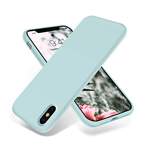 for iPhone X Case OTOFLY Silky and Soft Touch Series Premium Soft Silicone Rubber FullBody Protective Bumper Case Compatible with Apple iPhone XONLY  MintCream