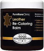Furniture Clinic Leather Re-Coloring Balm | Non Toxic Leather Color Restorer for Furniture | 16 Colors of Leather Repair Cream (Dark Brown), 8.5 fl oz