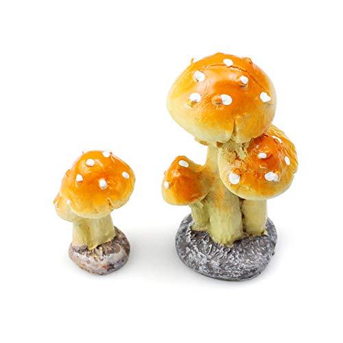 YunBey 2 Piezas Escultura de Setas Ornamento de Seta de Jardín Seta en Miniatura Accesorios de Decoración de Toadstool para Jardines, Patios, Decoraciones, Vidrio Contenedor