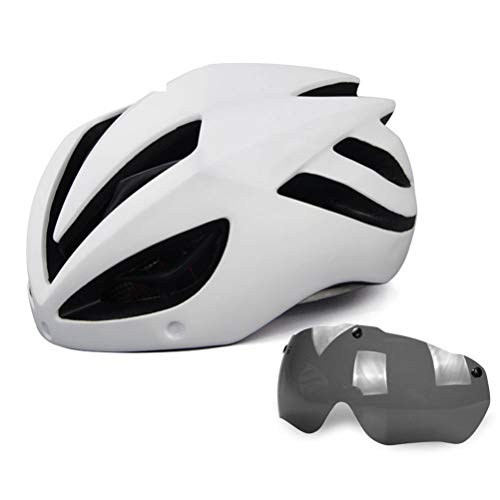 Helmet Casco De Ciclo De 19 Hoyos Cascos De Esqueleto De Bicicleta De Montaña Casco De Seguridad Cómodo Ajustable De Unisex, con Gafas(Color:Blanco)