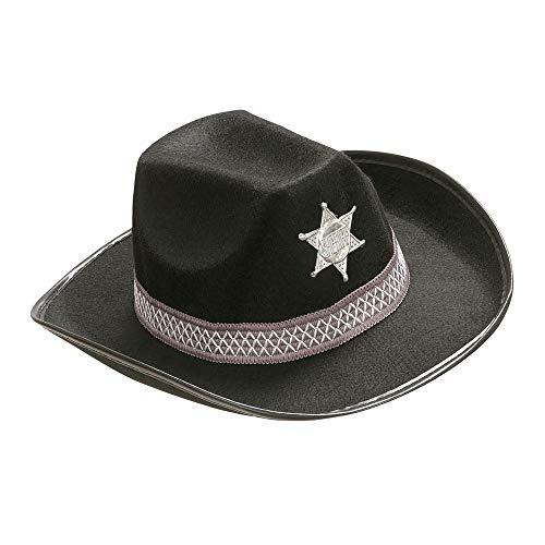 Widmann 2490N - Cowboyhut mit Hutband und Stern, für Karneval und Mottopartys
