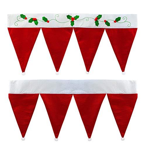 "SHUNYUS Christmas Hat Curtain, 35.4""x15.7"" Red Santa Claus Hats Window Valance Christmas Curtain Decoration Ornaments for Door&Window, Holiday Decorative Treatment Balloon Valance Drape"