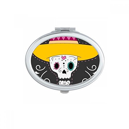 DIYthinker Chapeau de Fleur en Forme de Coeur de crâne Mexique Heureux Le Jour des Morts Ovale Maquillage Compact Miroir de Poche Miroirs Mignon Petit Multicolore