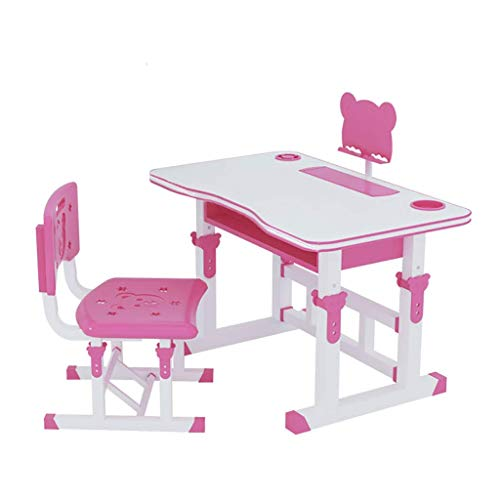 qazxsw Height Adjustable Children Desk & Chair Sets Lift-Top Study Table with Drawer Storage Tilting Desktop Lamp for Students Kids Boys & Girls