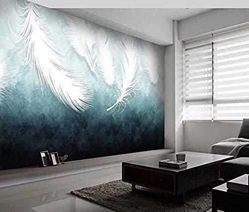 Carta da parati 3D Murales Moda moderna Piuma bianca Soggiorno Camera da letto Tv Sfondo Decorazione murale Art foto immagine poster -430×300cm(LxA)