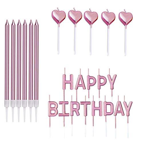 Födelsedagsljusuppsättning, 24 st metalliska smala tårtljus innehåller 6 långa tunna ljus med hållare god födelsedag födelsedag krans 5 födelsedag kaka ljus för bröllop baby dusch roséguld
