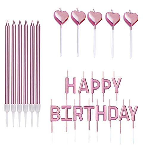 Birthday Candles Set,24 PCS Metallic Cake Candles Include 6 Long Thin Candle with Holders+HAPPY BIRTHDAY Letter Candles+5 Metallic Love Shape Cupcake Candles for Wedding Party Baby Shower Rose Gold