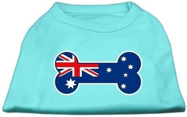 Mirage Pet Products Bone Shaped Australian Flag Screen Print Shirt, Medium, Aqua by Mirage Pet Products