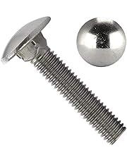 OPIOL QUALITY Tornillos de cierre (DIN 603) de acero inoxidable A2 V2A, con cabeza redonda plana y cuello cuadrado